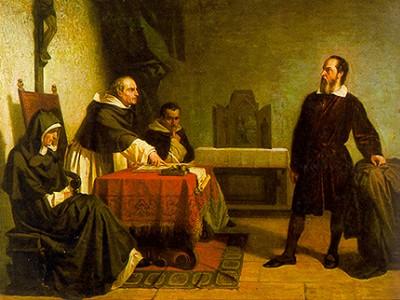 """""""Galileu Enfrenta a Inquisição"""" de Cristiano Banti (1857)"""